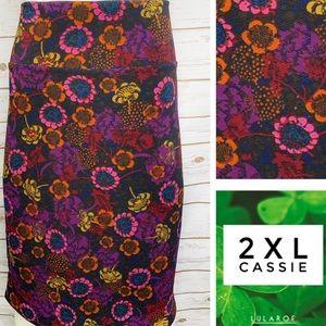 2XL Cassie multi color floral print pencil skirt